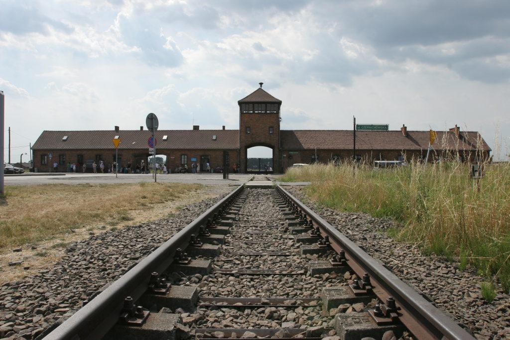 Auschwitz Birkenau, view of the gate