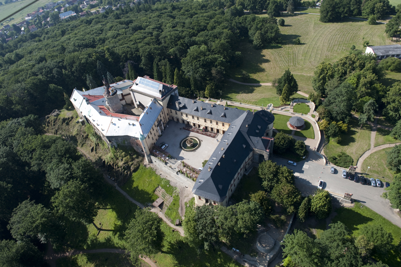 Aerial view of the Zbiroh Chateau