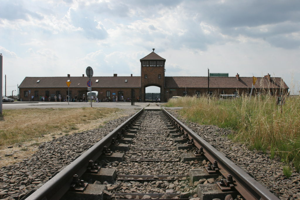 Auschwitz Birkenau, view of the gate