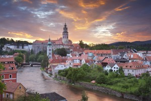 Romantic sunset over the Cesky Krumlov