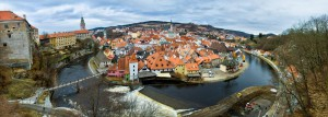 Historical center of Cesky Krumlov embraced by the Vltava river
